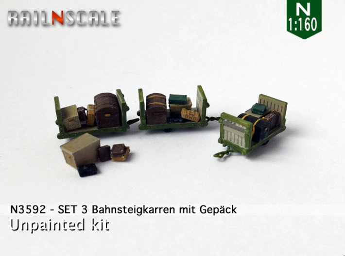 SET Gepäckkarren mit Gepäck (N 1:160) 3d printed