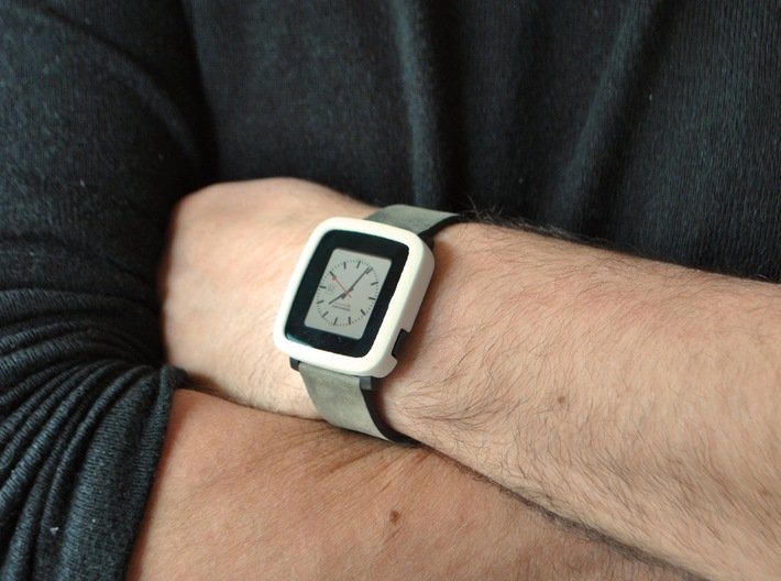 Pebble Time Steel Bumper Cover 3d printed White polished / photo by @apebbleaday