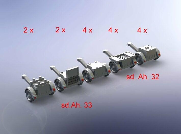 German sd.Ah. 32 & 33 Ammo Trailer 1/285 6mm 3d printed