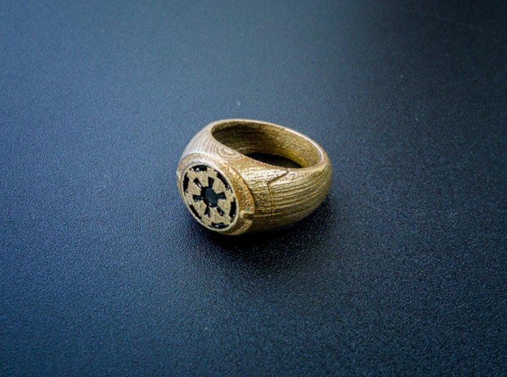 Imperial Signet Ring 3d printed Photo of the ring with paint applied. *Item does NOT arrive painted!