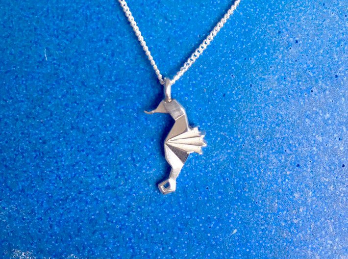 Origami Seahorse 3d printed Polished Silver with silver chain