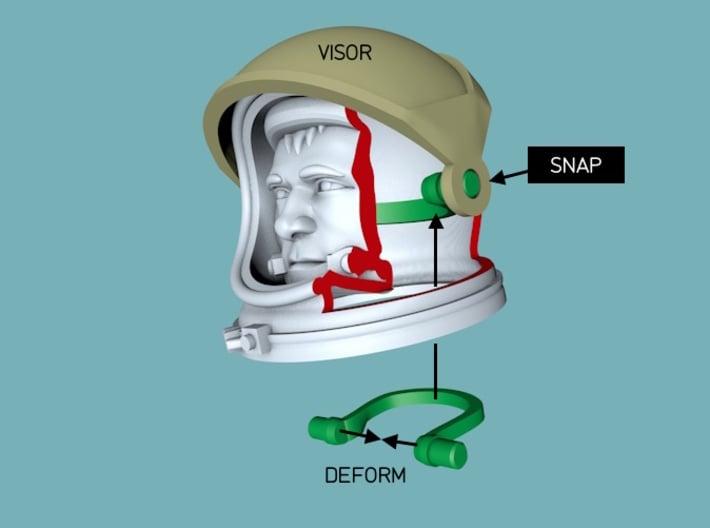 Gemini Astronaut / 1:6 / Helmet, Head Nr 1 3d printed