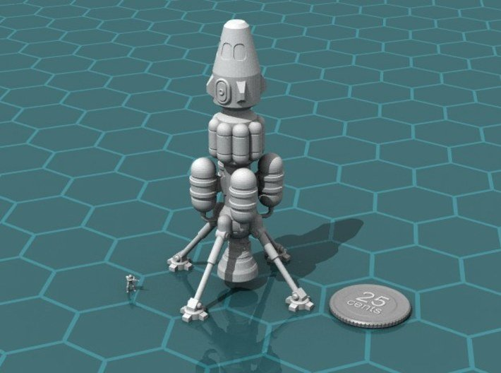 Space Taxi 3d printed Render of the model, with a virtual quarter and 6mm scaled00d for scale.