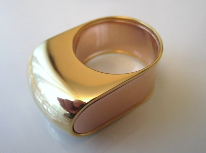 Lid for Compact Pillbox Ring - size 10 3d printed The two parts together