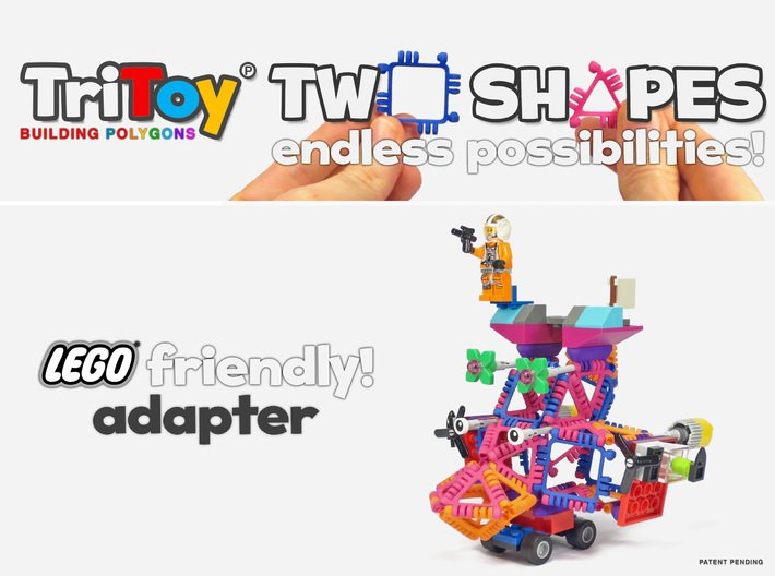 TriToy Building Polygons for Adults (12 ADAPTERS) 3d printed Only two shapes, a triangle and a square, and endless possibilities to build cool stuff!