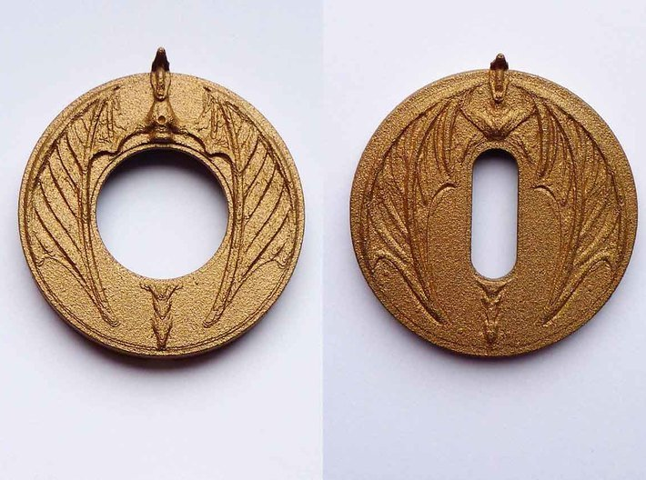 """Escutcheon for dragon door handles - """"Sentinel"""" 3d printed dragon doorhandle escutcheon The Sentinel 3D printed in steel"""