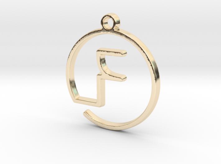 """F continuous line"" Monogram Pendant 3d printed"