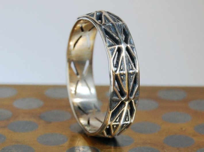 Cut Facets Ring Sz. 4.5 3d printed Polished Silver with liver of sulfur patina