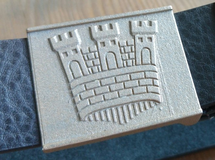 Castle belt buckle 3,7 cm 3d printed Borgen bältesspänne i stål