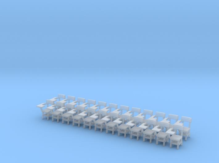 Pedestal School Desks O scale 1/48 x24 for FUD 3d printed