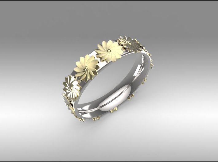 Flowers in Spring 3d printed Contact Me for This Two Tone Look in any Ring size