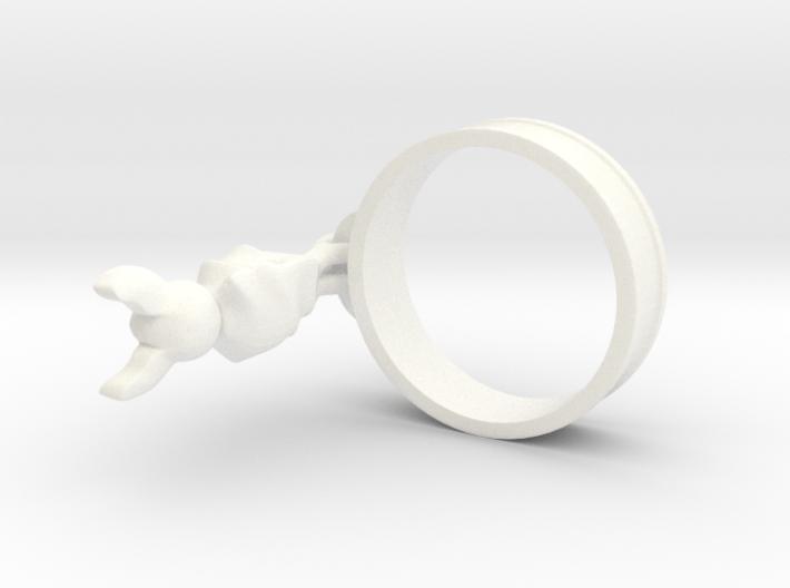 Hanging Bat Charm Ring 3d printed