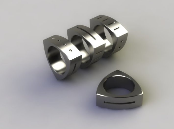 Triton 3d printed Polished Steel Render
