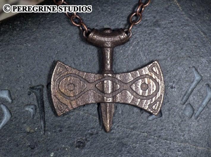 Pendant - Amulet of Talos 3d printed Polished Bronze Steel