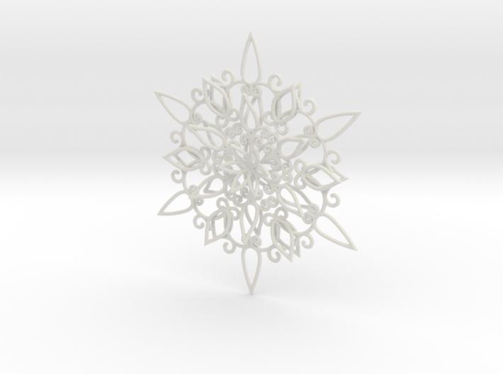 Floral Snowflake Christmas Ornament 1 3d printed