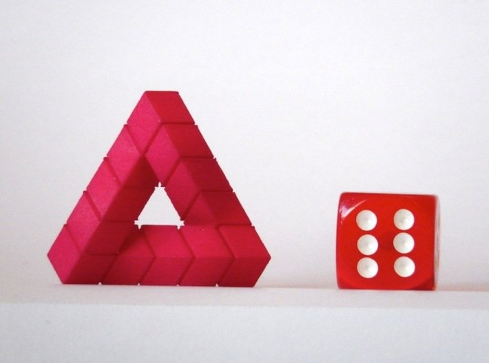 Impossible Triangle, Cubed & Compact 3d printed Hot Pink Strong and Flexible