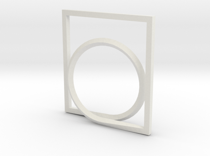 Rectangle and Circle ring 3d printed