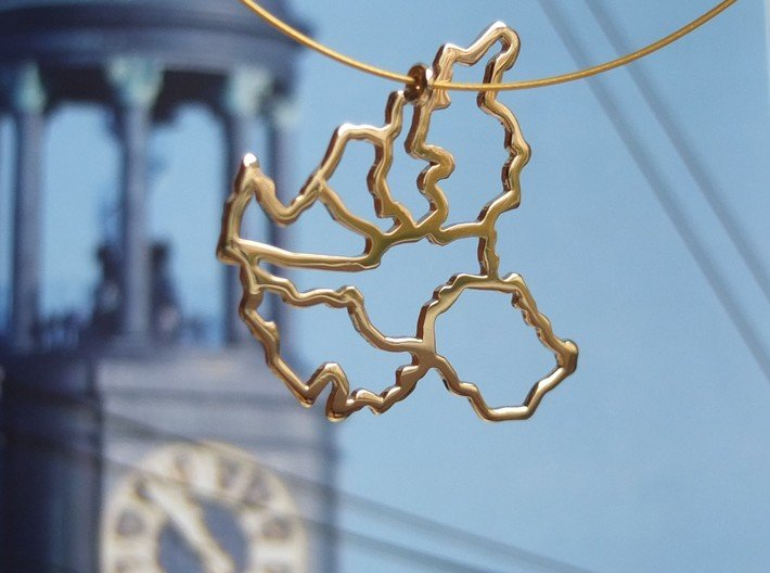 Hamburg Pendant 3d printed Hamburg pendant in polished brass