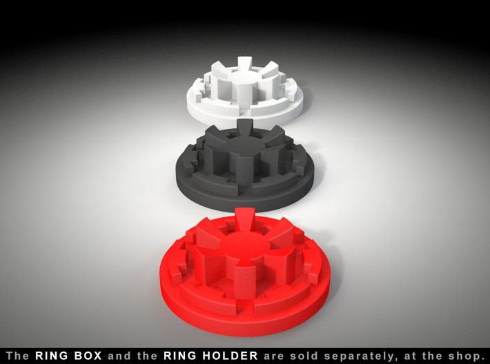 """STAND - To the """"Black Star Ring Box"""" 3d printed Ring Box and Ring Holder, sold separately at the Shop. Ring not included."""