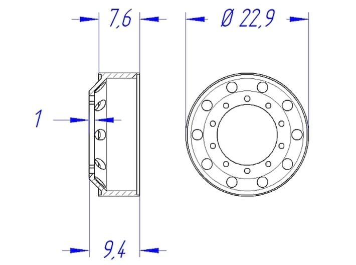 "1/25 Rim Set 22,5"" Alcoa-Style 3d printed Front Rim - Dimensions"