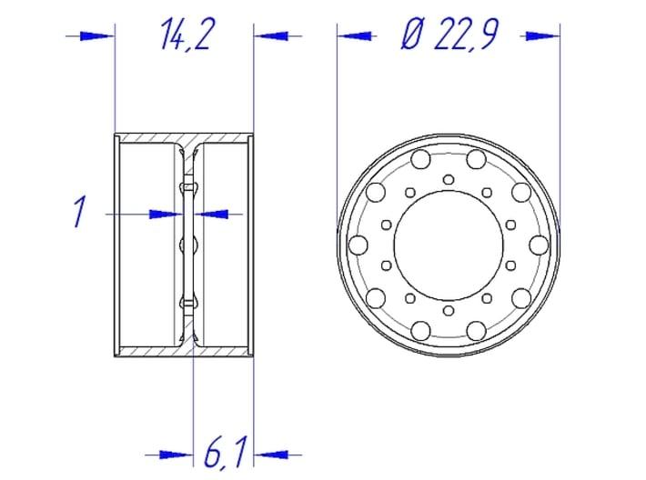"1/25 Rim Set 22,5"" Alcoa-Style 3d printed Rear Rim - Dimensions"
