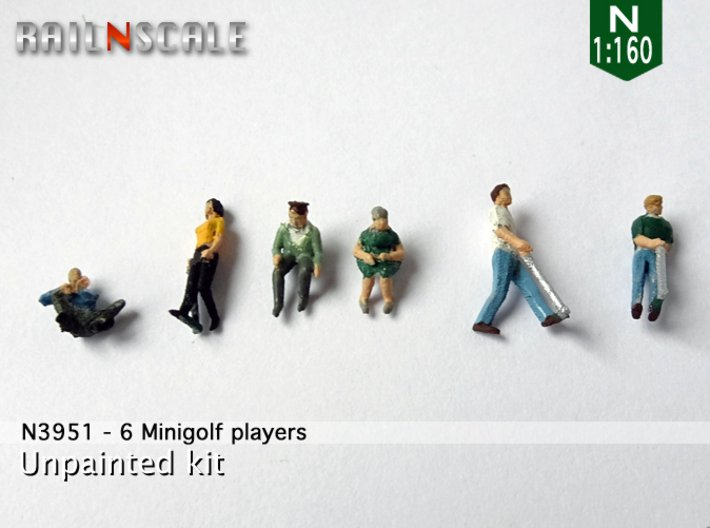 6 Minigolf players (N 1:160) 3d printed