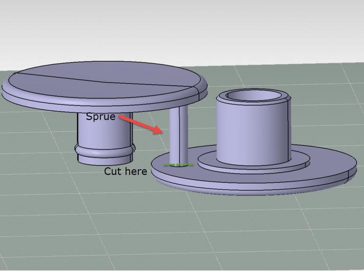 Bearing Cap for Fidget Spinner - Skateboard Size 3d printed Sprue Cut