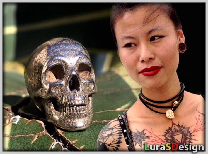 Human Skull Pendant - Skull Bead 3d printed left: Stainless Steel