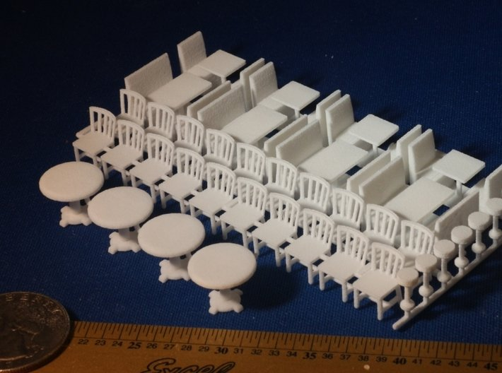 Restaurant Booths, Tables, Chairs and Lunch Stools 3d printed