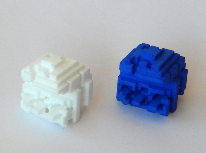 """Pacman Cubed, Small 3d printed Two """"Pacman Cubed"""" objects"""