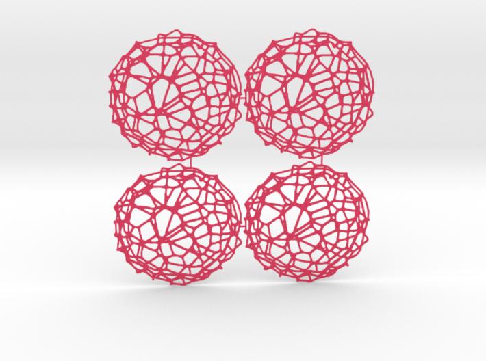 4er Drink Coaster Set - Voronoi #9 (Color-Version) 3d printed