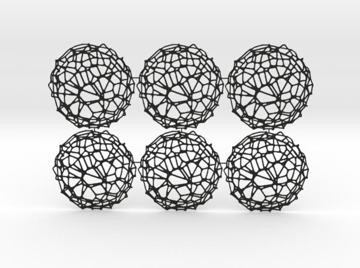 6er Drink Coaster Set - Voronoi #9 (Thin) 3d printed