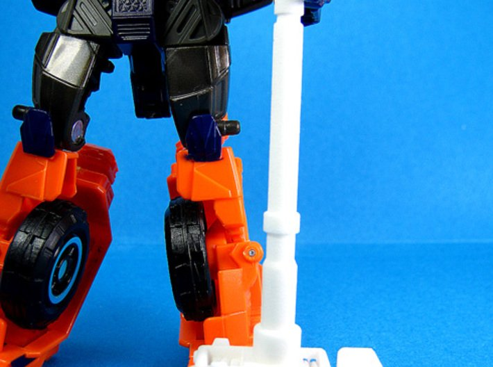 Cosmic Hammer - TF Compatible 5mm Weapon 3d printed Shown with Impactor (deluxe-scale Trnasformer figure) for size reference.