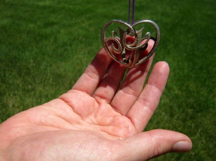 Scripted Initials 3d Heart - 4cm 3d printed