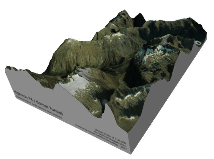 Homer Tunnel Map, New Zealand 3d printed