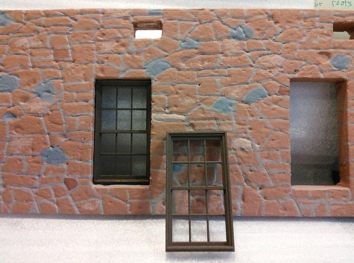 Window, 40in X 74in, 12 Panes, 1/32 Scale 3d printed Printed in White Plastic and colored brown with Rit dye.