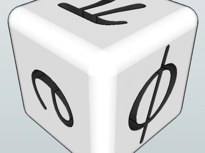 Mathematician's Die 3d printed φ e π