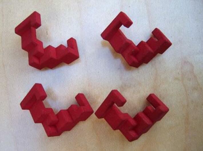 Quad Helix 3d printed The four puzzle pieces.