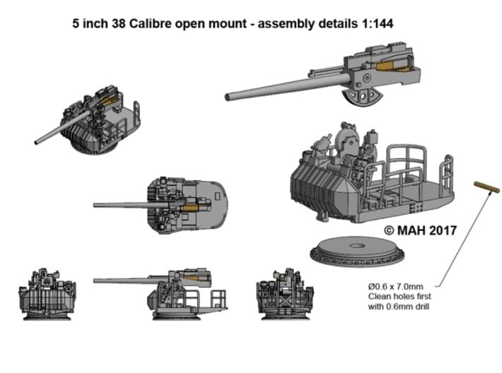 "5"" 38 Cal Open mount 1/144 3d printed"