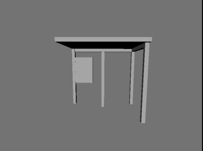 1:76th bus shelter 2 (4 pack) 3d printed Rendered view of the shelter from the front