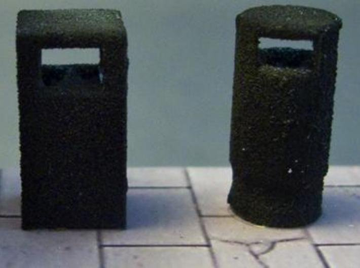 28mm/1:56th rectangular bins set 3d printed 1:76th scale version of one of these bins, next to a round bin, also available from this shop.