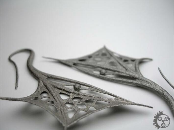 Wing Earrings 3d printed Wing Earrings - Closeup