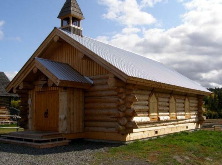 Log Church - Z scale 3d printed Source Photo