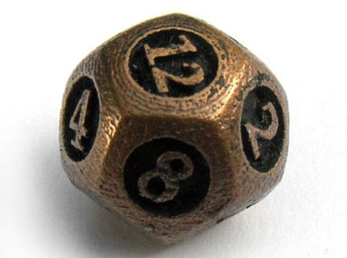 Overstuffed d12 3d printed In antique bronze glossy and inked