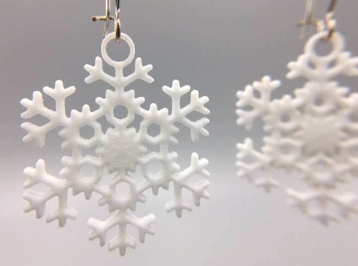 """Blizzard Snowflake Earrings 3d printed Pair of """"Blizzard"""" Snowflake Earrings in White Strong & Flexible Polished"""