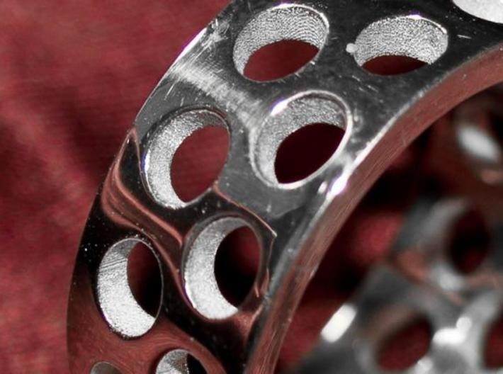 Holey Ring 3d printed Silver polished