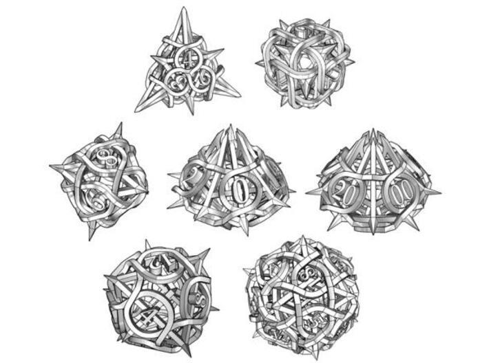Thorn Dice Set with Decader, 7 Piece Die Set 3d printed