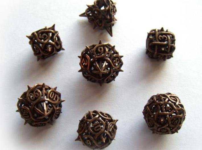 Thorn Dice Set with Decader, 7 Piece Die Set 3d printed In antique bronze glossy