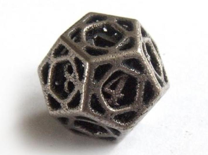 Cage d12 3d printed In stainless steel and inked