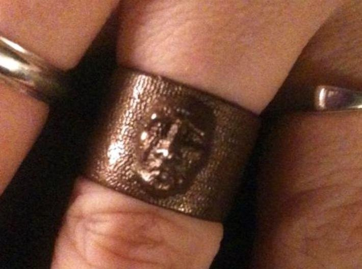 Creepy Face Ring size 9 3d printed Here is the creepy face ring in glossy bronze. It came out even better than I expected. Lots of detail.